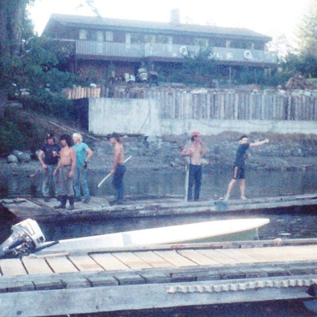 Construction of log retaining wall