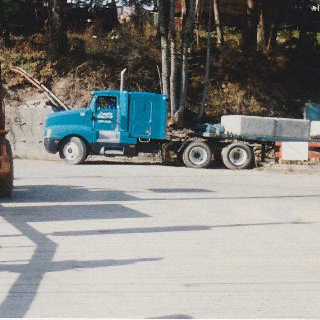 Truck loads of lock blocks start to arrive
