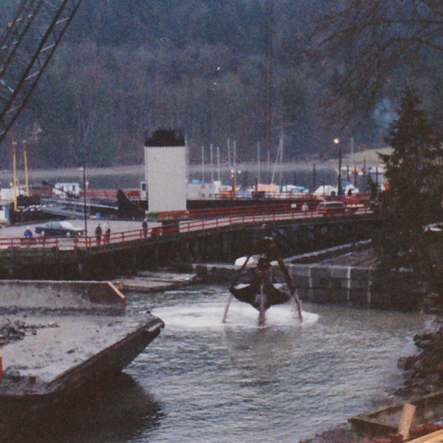 Dredging next to new wall